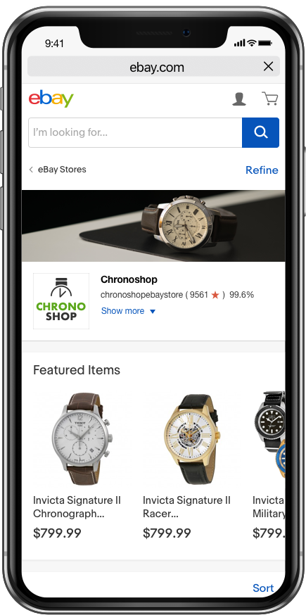 eBay Stores mobile shopping experience