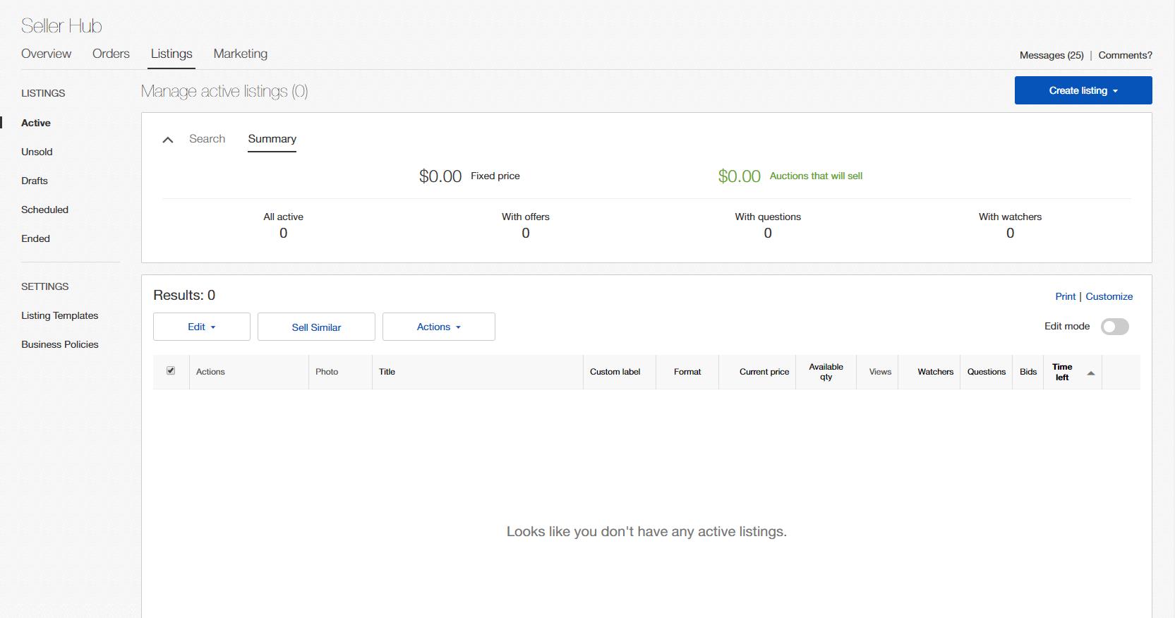 Seller Hub Listings tab