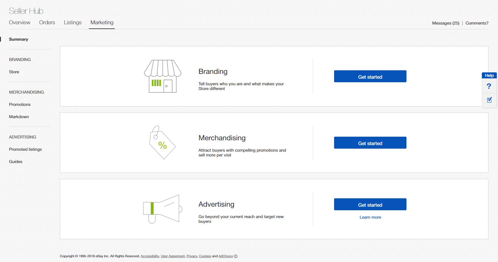 Seller Hub Marketing tab
