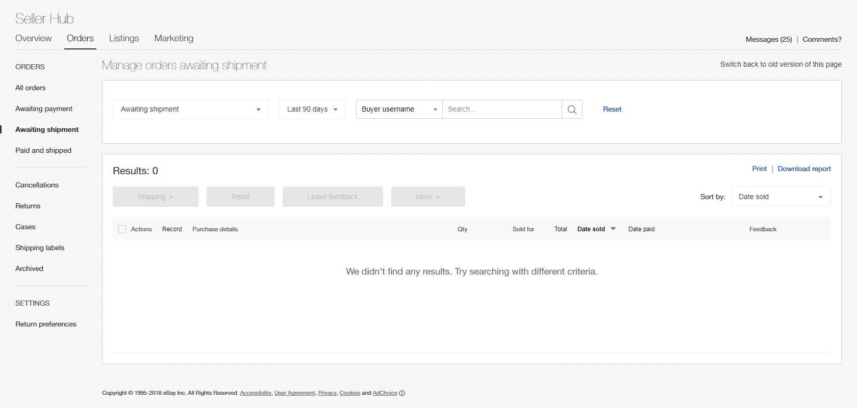 Seller Hub Orders tab