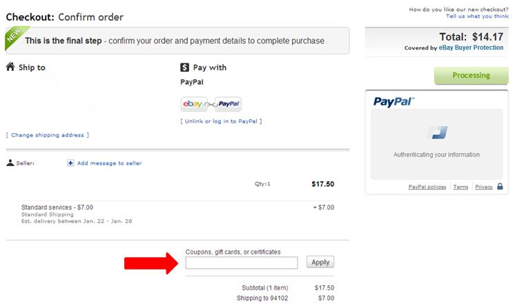Ebay Redeeming Coupons