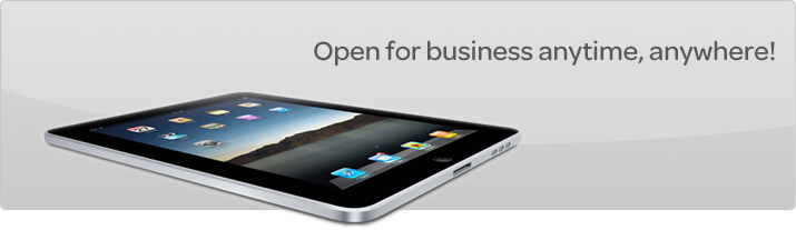 An image promoting the eBay application for iPad.