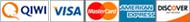 QIWI, Visa/MasterCard, Amex, Discover