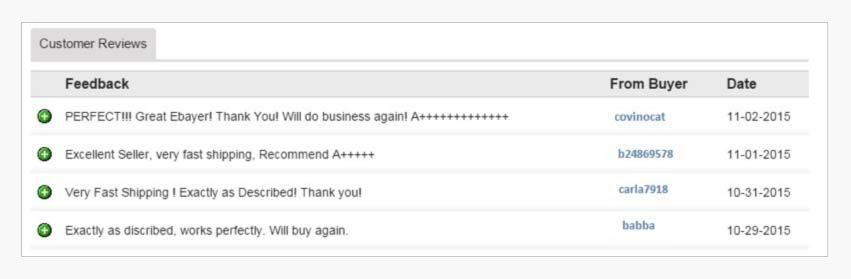 Example: Embedded buyer feedback
